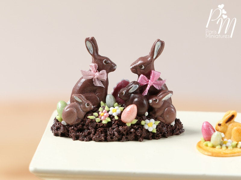 Chocolate Easter Rabbit Family Display (B) - Miniature Food in 12th Scale
