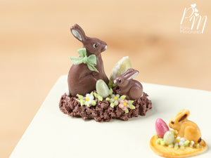 Chocolate Easter Rabbit Family Display (D) - Miniature Food