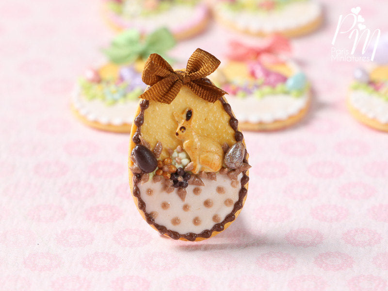 "Easter Shortbread Cookie ""Basket"" Decorated with Rabbit, Blossoms, Egg, Bunny, Chocolate Silk Bow"