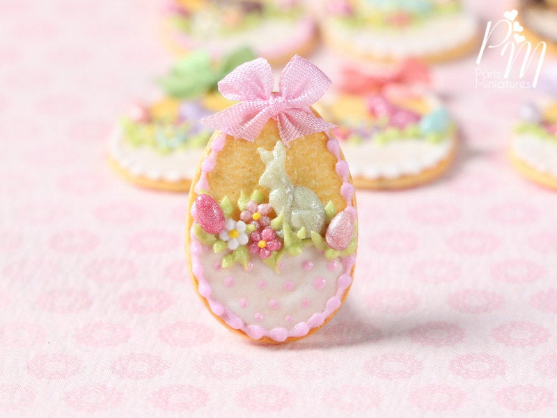 "Easter Shortbread Cookie ""Basket"" Decorated with Rabbit, Blossoms, Egg, Bunny, Light Pink Silk Bow"
