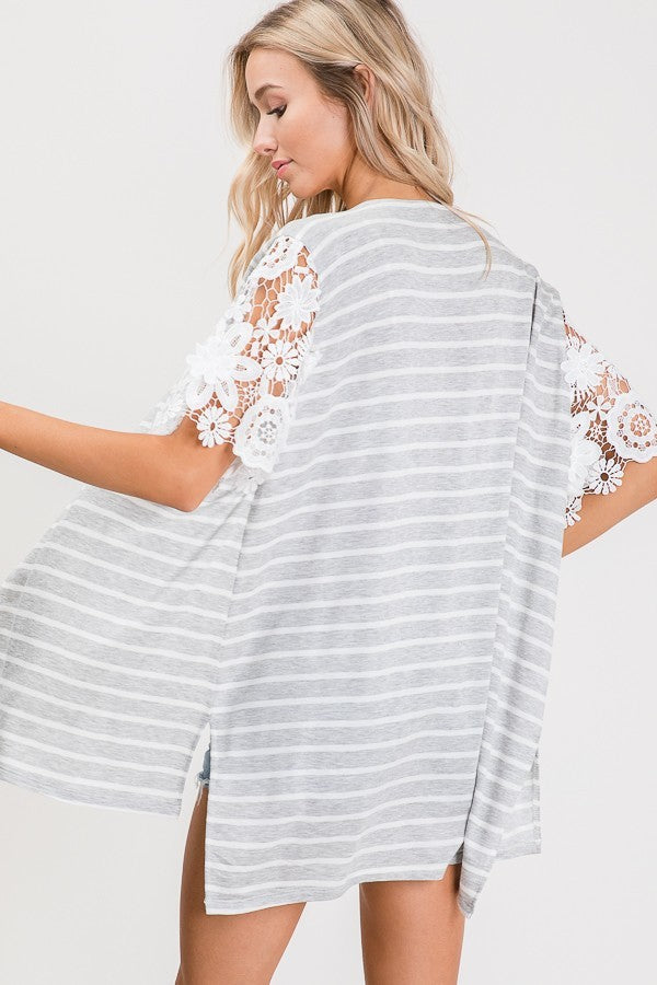 Amelia Lace Sleeve Cardigan Back