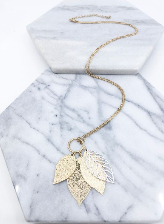 Filigree Leaf Pendant Necklace