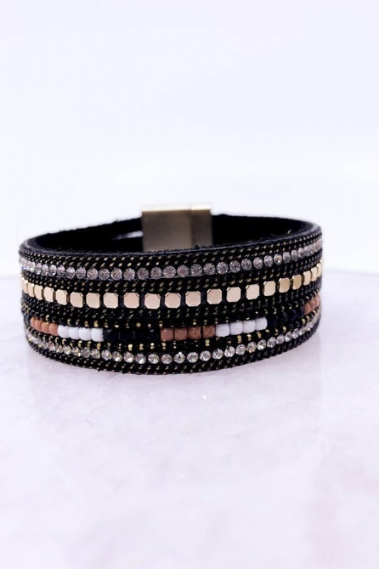 Black Wrap Magnetic Bracelet