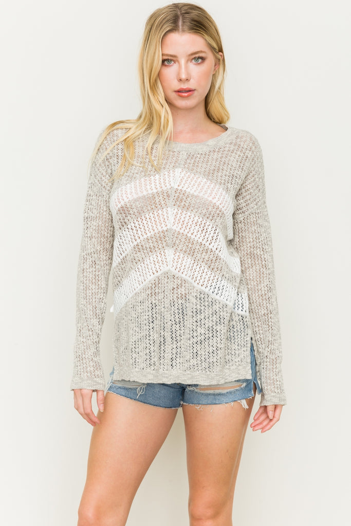 Broken Arrow Open Stitch Sweater Front