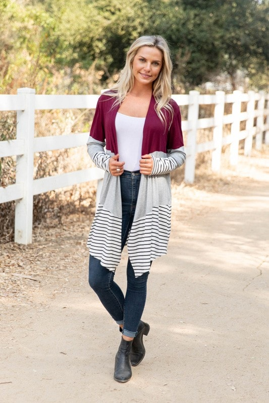 Burgundy Colorblock Cardigan
