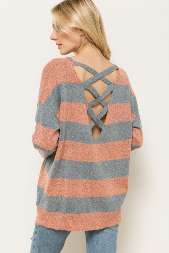 Chloe Crisscross Back Sweater Back