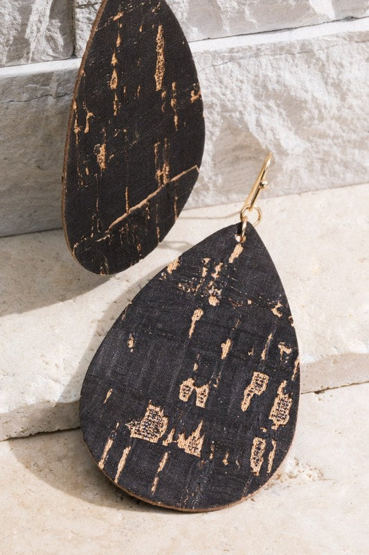 Cork Dangle Earring With Foil Accent