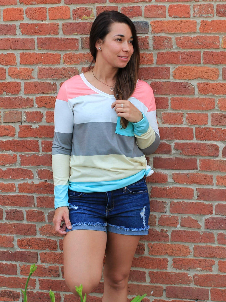 Cotton Candy Striped Top - Front
