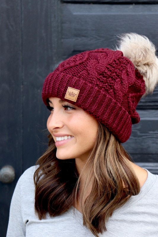 Crimson Sunset Cable Knit Beanie