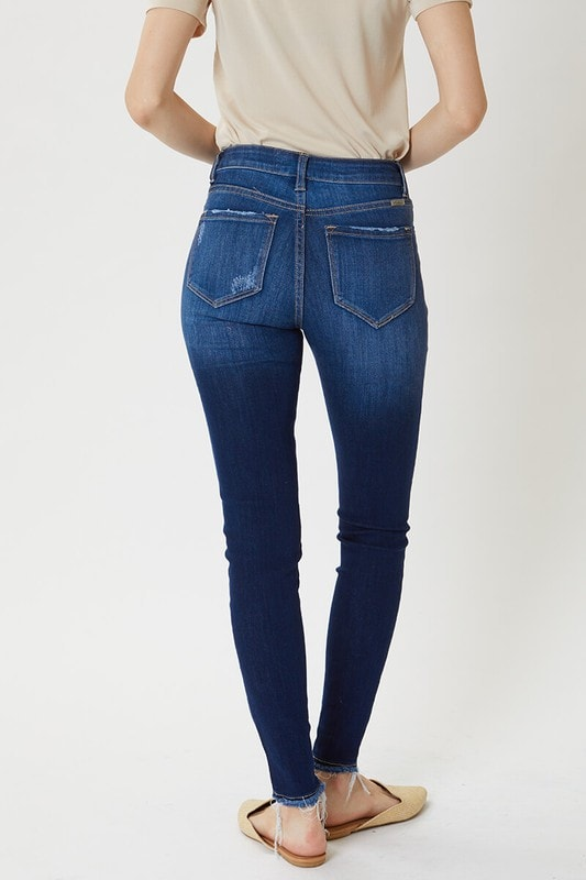KanCan - High Rise Hem Detail Super Skinny Jeans