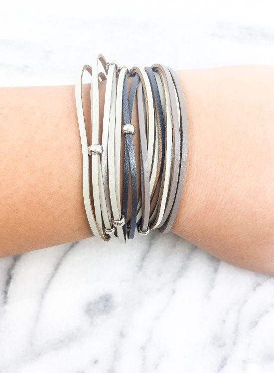 Genuine Leather Wrap Magnetic Bracelet