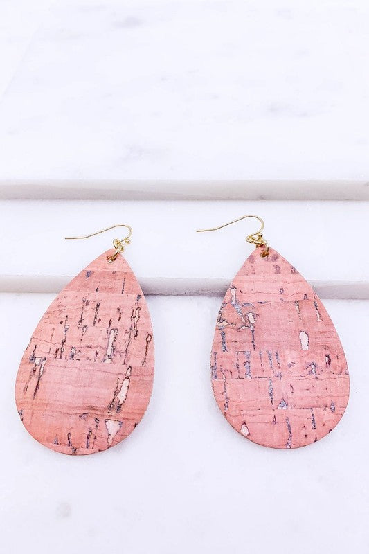Teardrop Gold Foil Cork Earrings