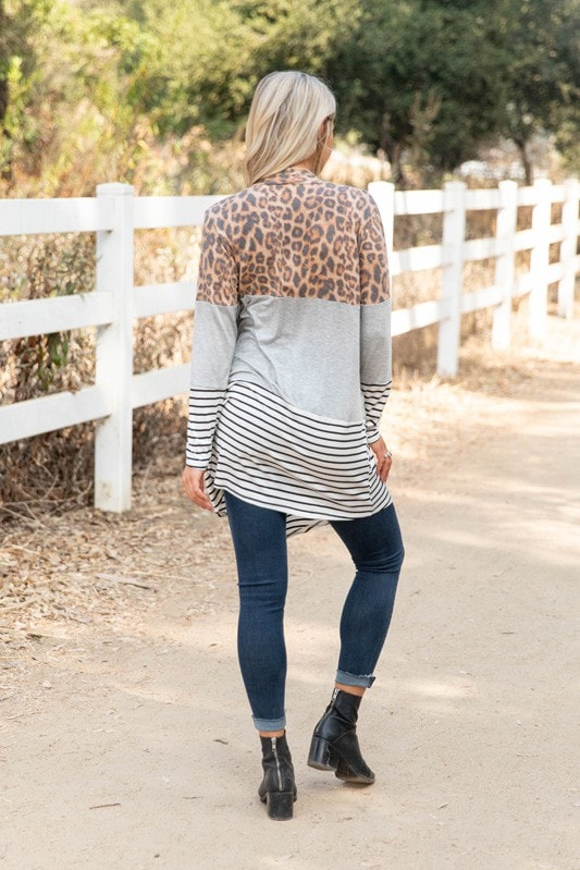 Leopard Colorblock Cardigan