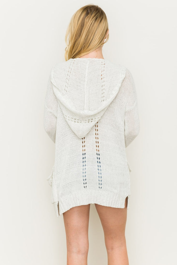 Madison Knit Hooded Cardigan Back