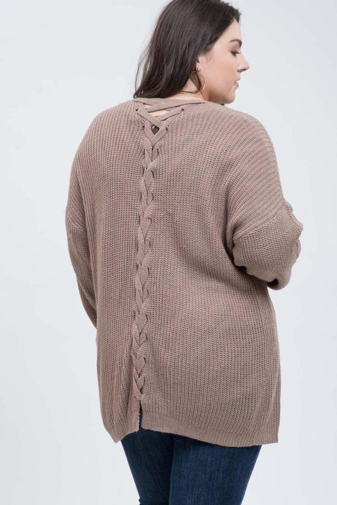 Mocha Latte Lace Up Cardigan Back