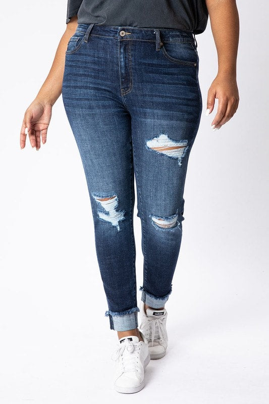 KanCan - Plus Size Distressed Ankle Skinny Jeans