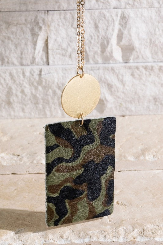 Square Animal Print Necklace