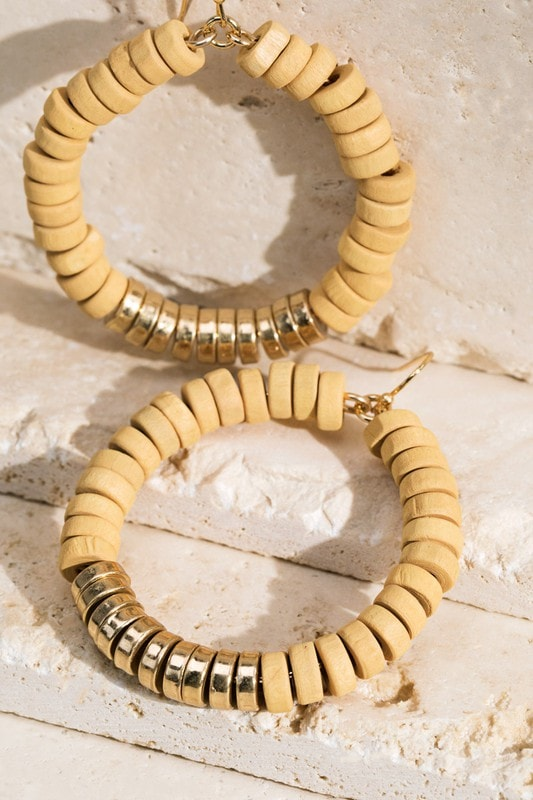 Wooden Disc Beaded Hoop Earring