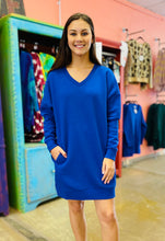 Load image into Gallery viewer, Be Yourself V Neck Sweater Dress DEEP BLUE