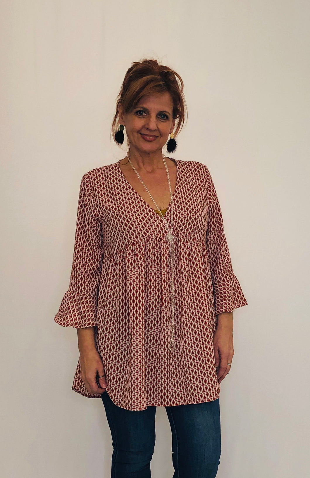 Margo Printed Tunic RED