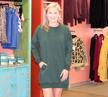 Load image into Gallery viewer, Be Yourself Sweatshirt Dress HUNTER GREEN