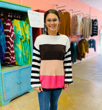 Load image into Gallery viewer, Take a Rest Sweater BROWN/FUCHSIA