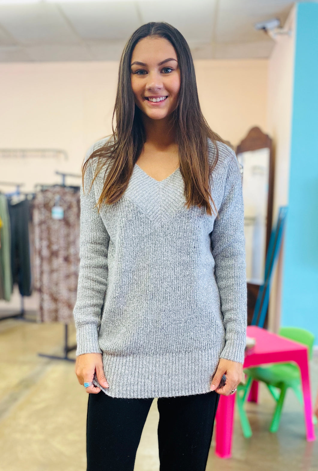 Home for the Weekend Sweater HEATHER GREY