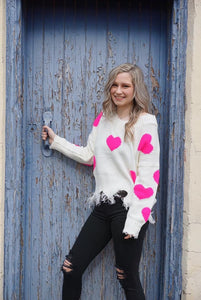 Seeing Hearts Frayed Sweater WHITE/PINK