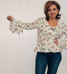 Crystal Floral Blouse CREAM/RED