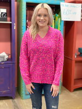 Load image into Gallery viewer, Rainbow Sprinkle Sweater NEON FUCHSIA