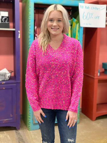 Rainbow Sprinkle Sweater NEON FUCHSIA
