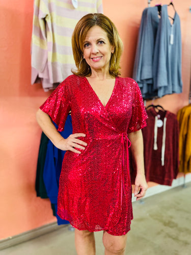 Not Afraid To Shine Sequin Dress FUCHSIA