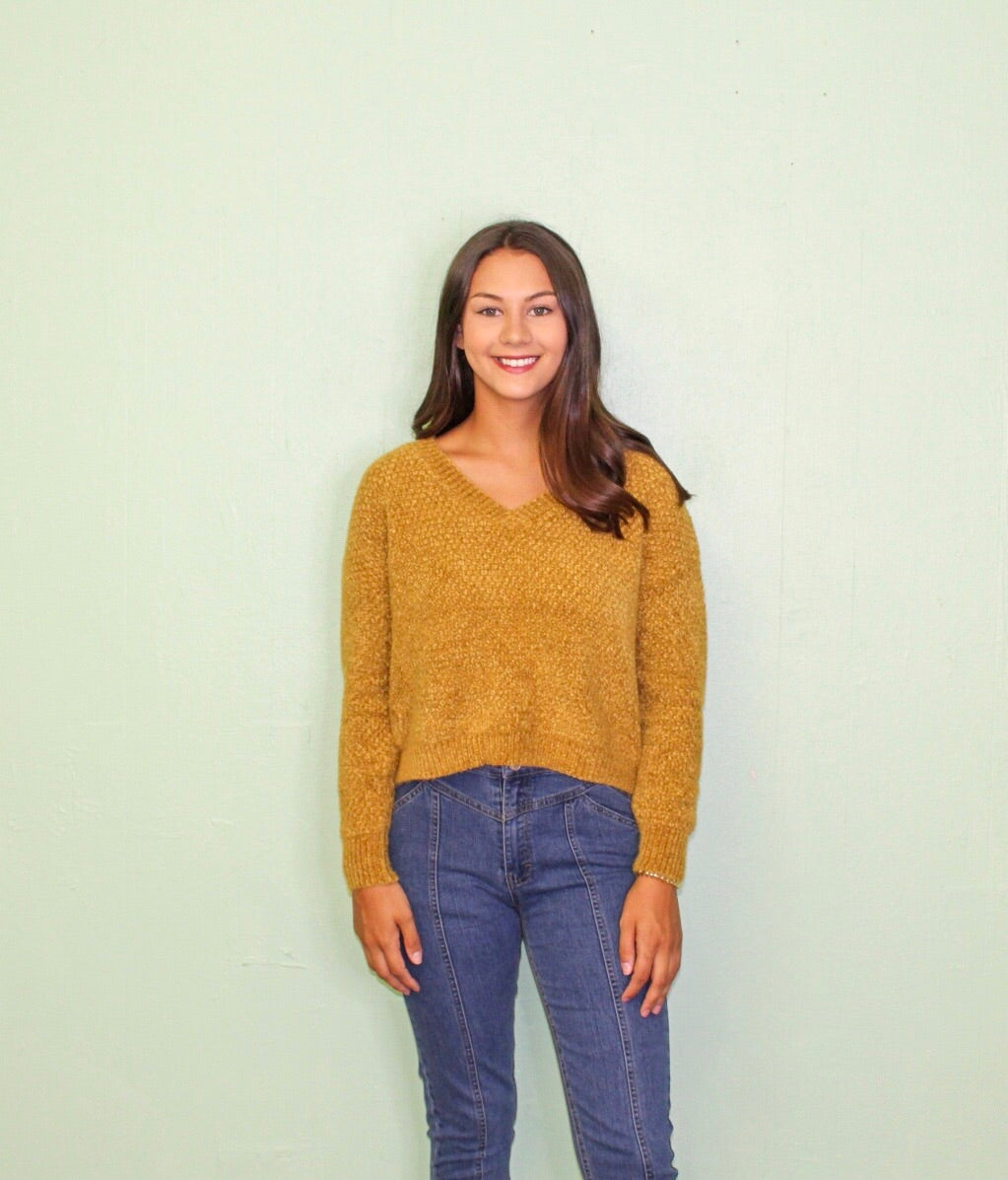 Headed North Chenille Sweater MUSTARD
