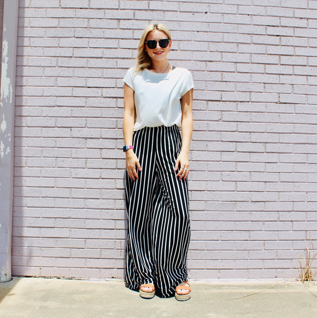 Worth the Stripe Wide LeggedPants