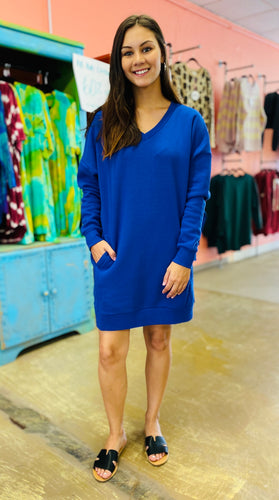 Be Yourself V Neck Sweater Dress DEEP BLUE