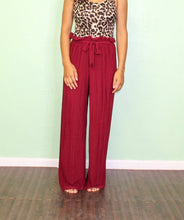 Load image into Gallery viewer, Easy Sunday Pleated Pant BURGUNDY
