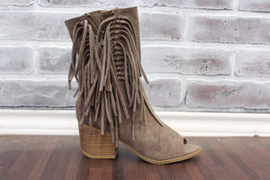 New Year Fringe Bootie Taupe
