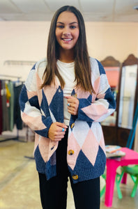Sweetest Thing Cardigan IVORY/BLUE/PINK