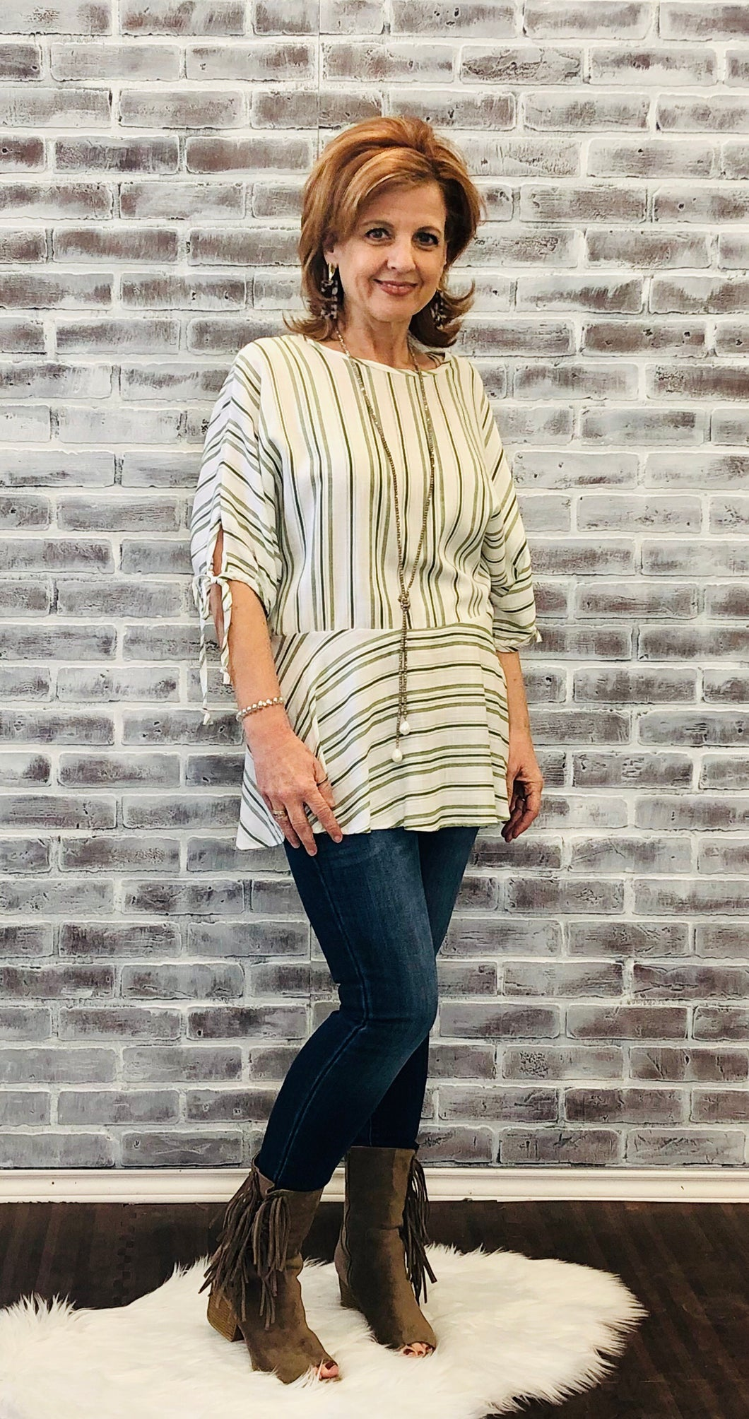 Jackson Striped Tunic Sage