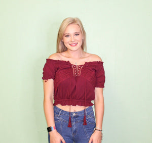 Show Down Off the Shoulder Top BURGUNDY