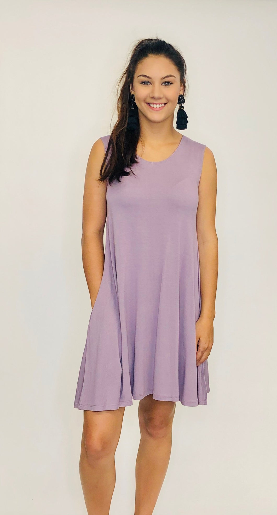 Logan Sleeveless Tee Shirt Dress MAUVE