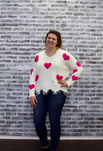 Load image into Gallery viewer, Seeing Hearts Frayed Sweater WHITE/PINK