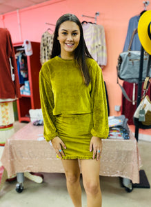 Truly Yours Velvet Top ECRU OLIVE