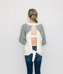 Wide Open Color Block Open Back Top OFF WHITE