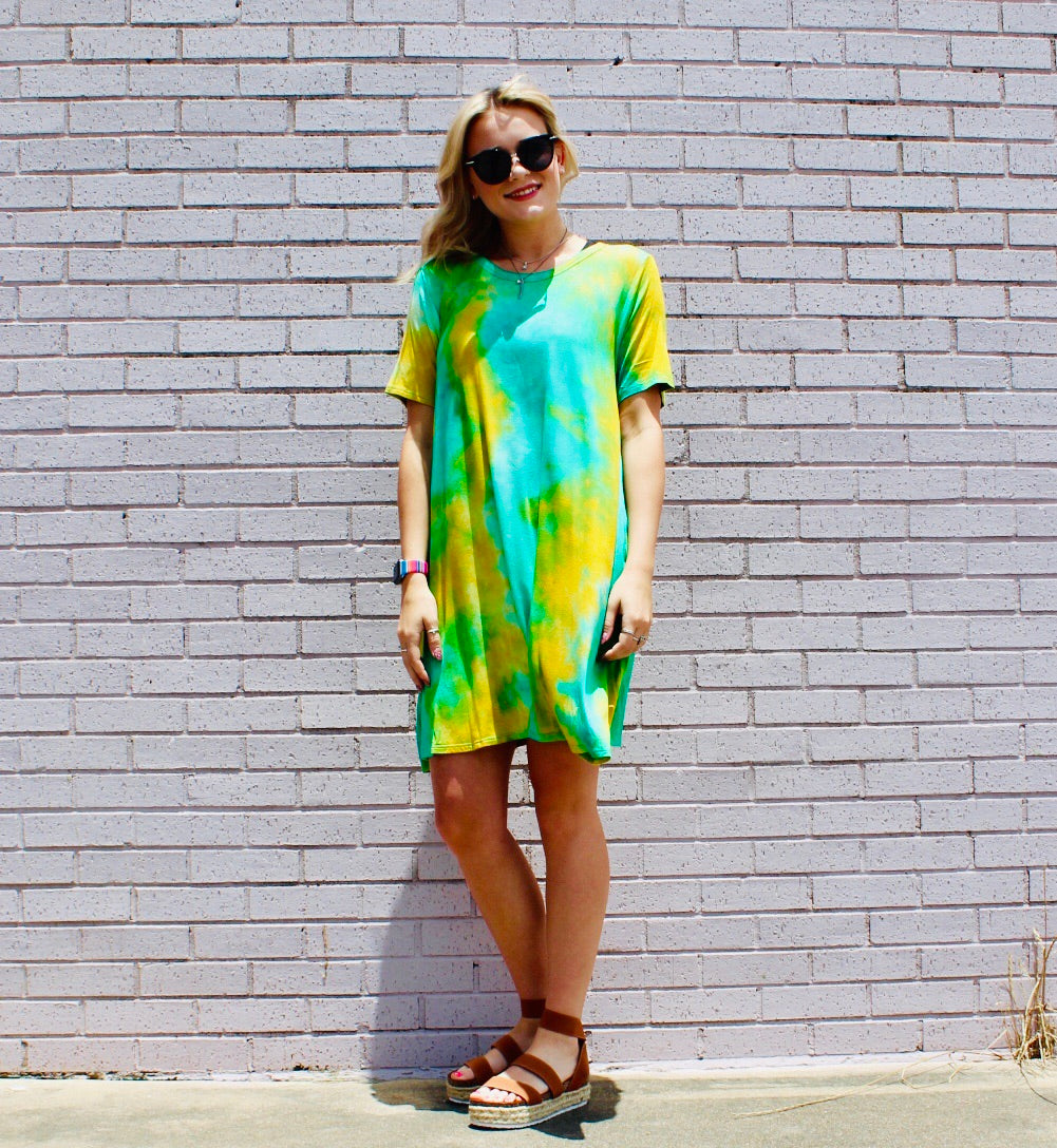 Fly by Dye Sm-3X Tee Shirt Dress MINT/YELLOW