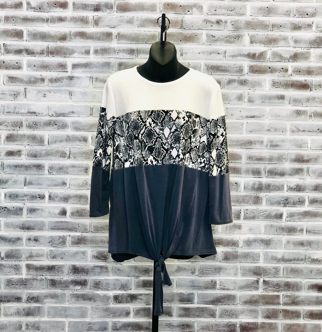 Zoo Color Block Top BLACK