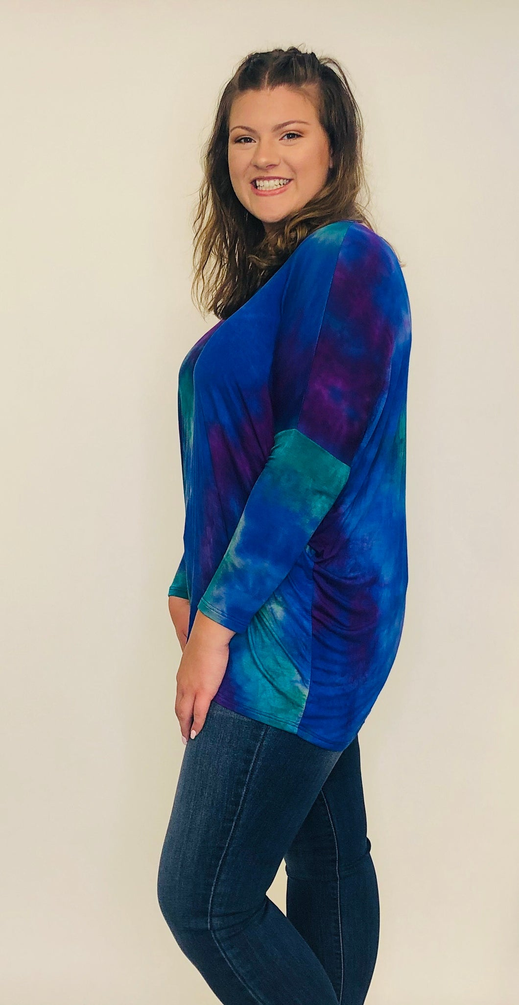 Jacy Tie Dye Tunic ROYAL/GREEN