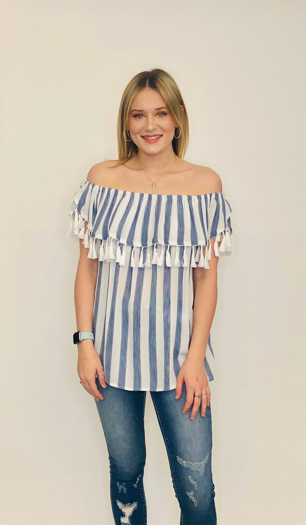 Roxanne Tassel Top WHITE/BLUE