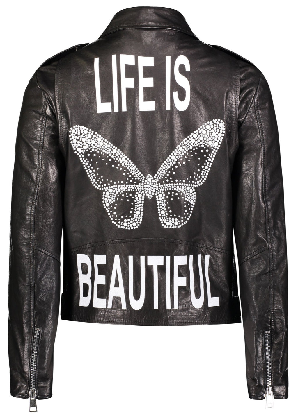 Hipchick - Life Is Beautiful Crystal Butterfly Leather Motorcycle Jacket