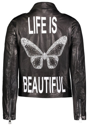 Life Is Beautiful Crystal Butterfly Leather Motorcycle Jacket